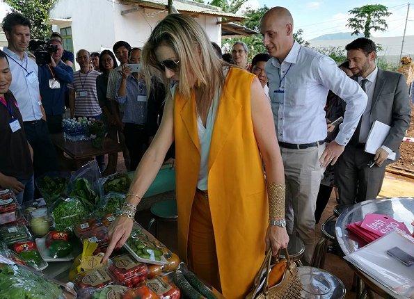 Queen Maxima wore ZARA Vest and Trousers, Queen wore Salvatore Ferragamo sandals and carried Salvatore Ferragamo handbags