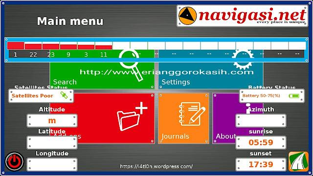 Menu aplikasi gps gratis 7Ways berbahasa Indonesia karya Om Latlon.