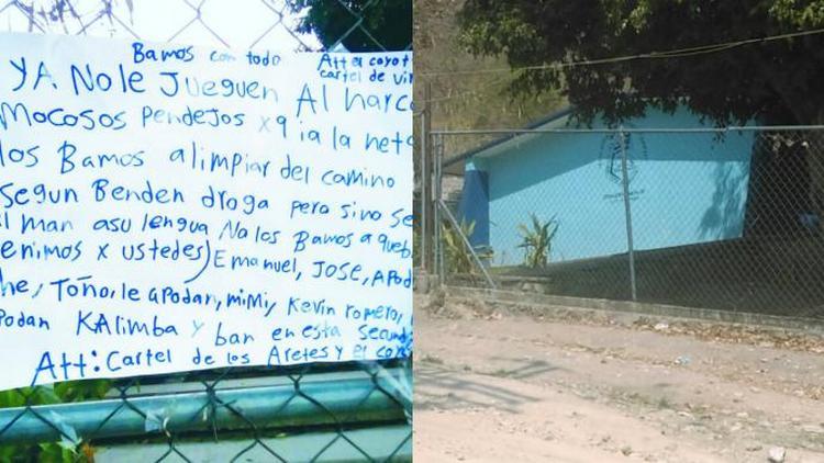 """""""No le jueguen al narco mocosos"""",Sicarios dejan mensaje a jóvenes que venden droga en secundaria en Jojutla, Morelos."""