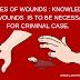 घाव/ चोट कितने प्रकार के होते है और आपराधिक मामलो में घावों का ज्ञान होना जरुरी है। Types of wounds- Knowledge of wounds is to be necessary for criminal case
