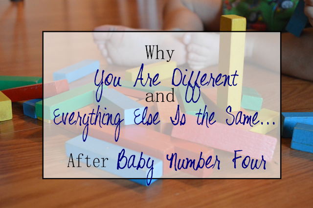 "Why You Are Different and Everything Else Is the Same After Baby #4 -- Ever heard the saying ""Once you have 4, you might as well have more?"" Well, I'm a believer, and here's why.  {posted @ Unremarkable Files}"