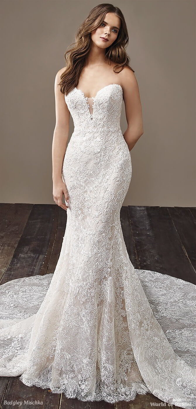 Badgley Mischka 2018 mermaid overlace bridal gown
