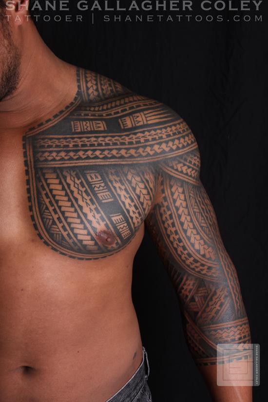 ab7128736 SHANE TATTOOS: Polynesian Samoan Inspired Chest and Sleeve Tattoo, Tatau