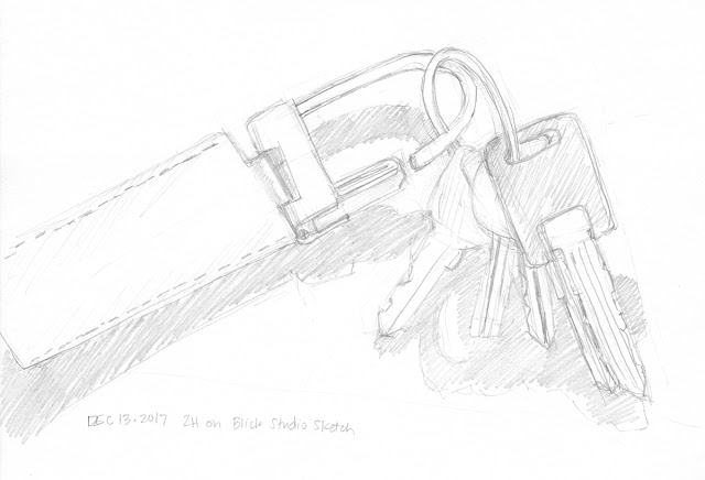 Daily Art 12-13-17 still life sketch in graphite number 69 - camper keys