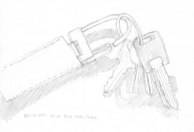 Daily Art 12-13-17 still life sketch in graphite number 69 - camper keys