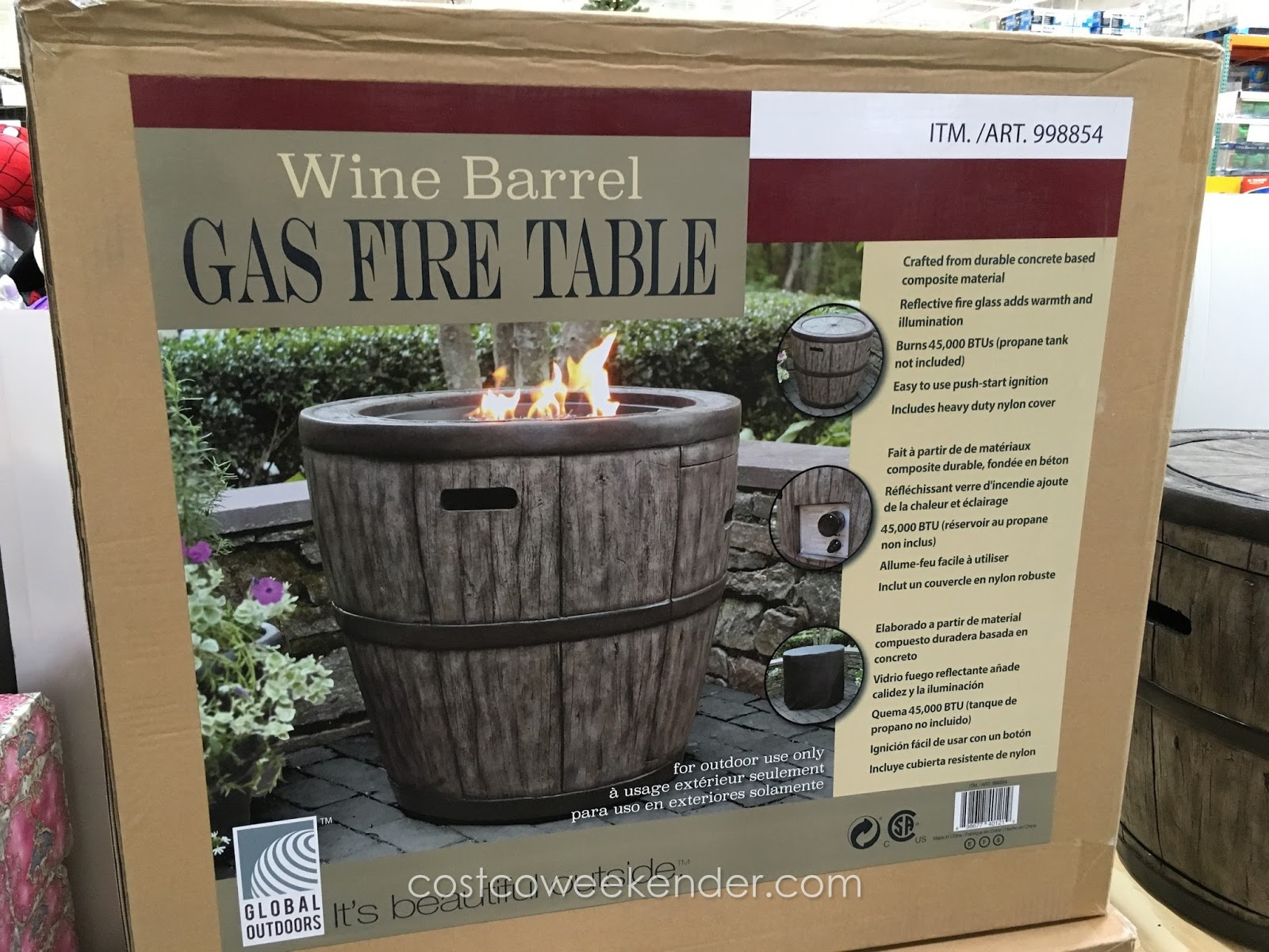Global Outdoors Wine Barrel Gas Fire Table Costco Weekender