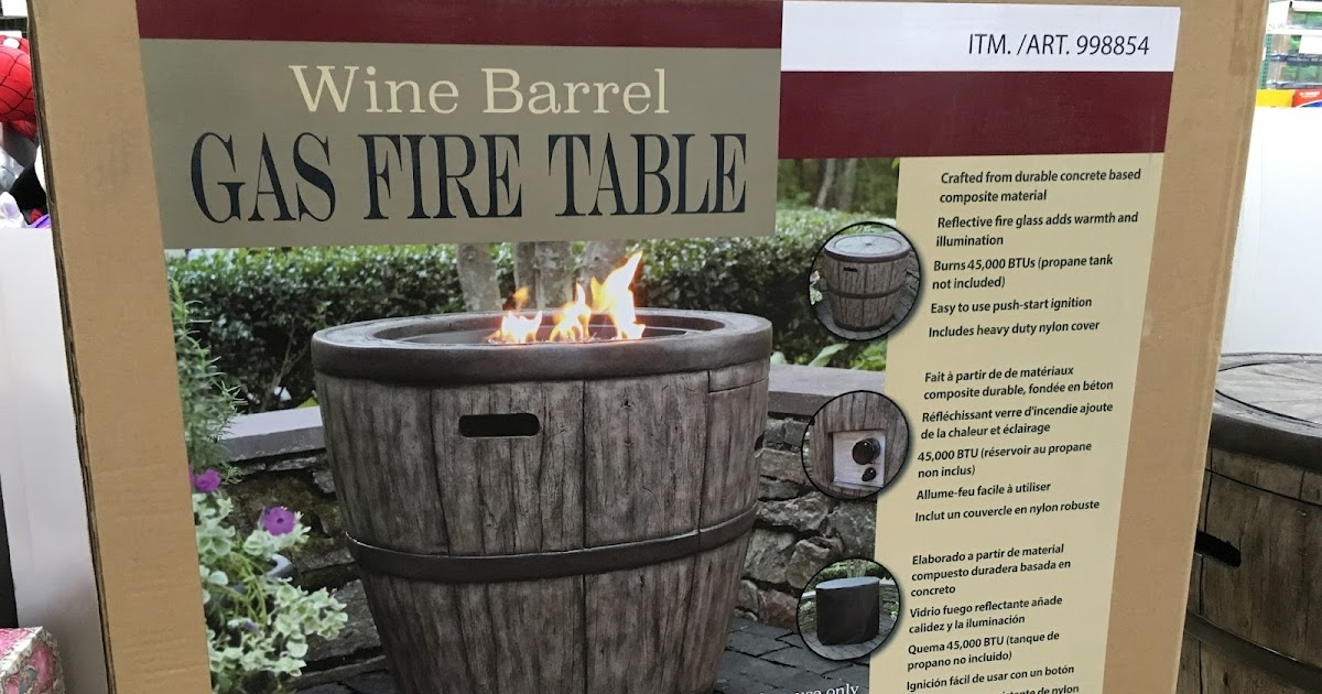 Global Outdoors Wine Barrel Gas Fire Table Costco Weekender