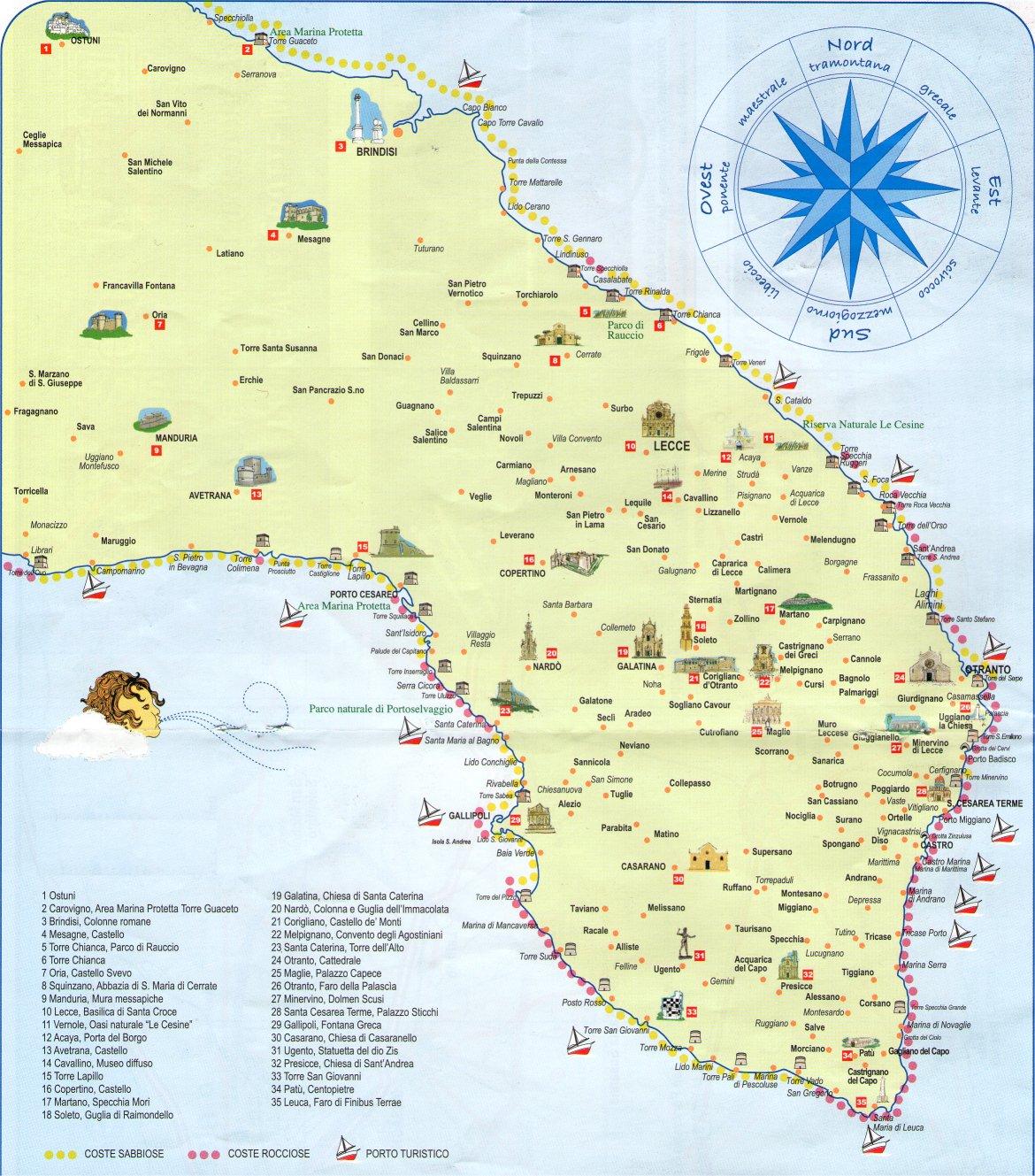 Cartina Puglia Provincia Lecce