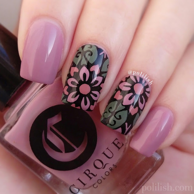Floral nail art with Born Pretty Store stamping plate   polilish