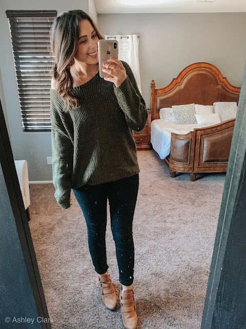 green chunky knit forever21 sweater old navy black skinny jeans target brown booties