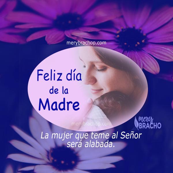 imagen con madre e hijo, frases dia de la madre feliz día, mensaje cristiano versiculo biblico mujer