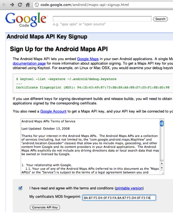 Namaste Android: How to generate Google Map Key