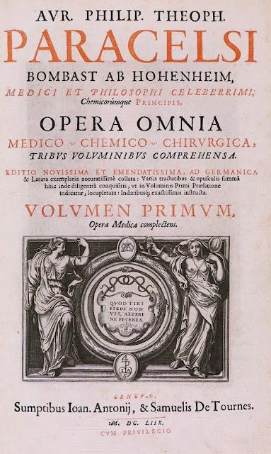 Ilustração da capa da obra Opera Omnia Paracelsi, as obras completas de Paracelso.