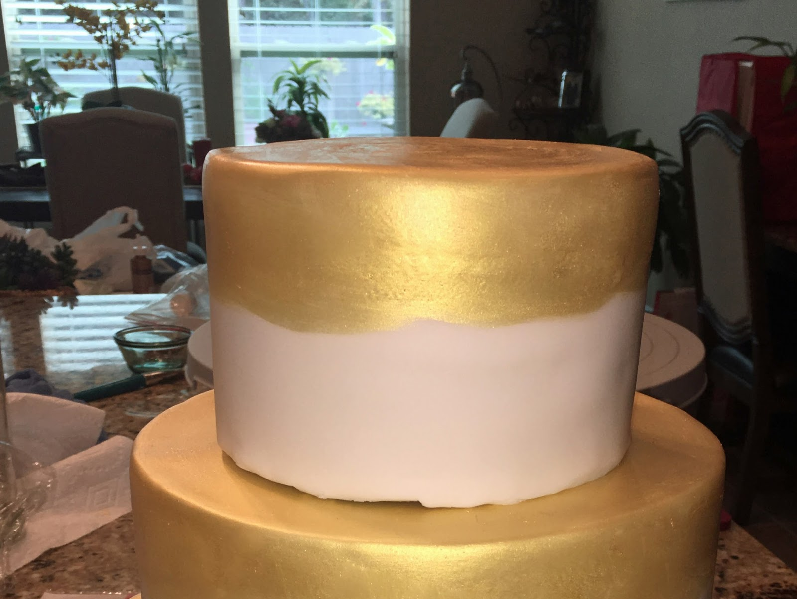 Cake Decorating Gold Paint : The Bake More: Gold Engagement Cake with Peonies   Edible ...