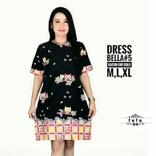 BAJU BATIK WANITA MODEL DRESS BELLA KATUN ORI SOLO TERBARU