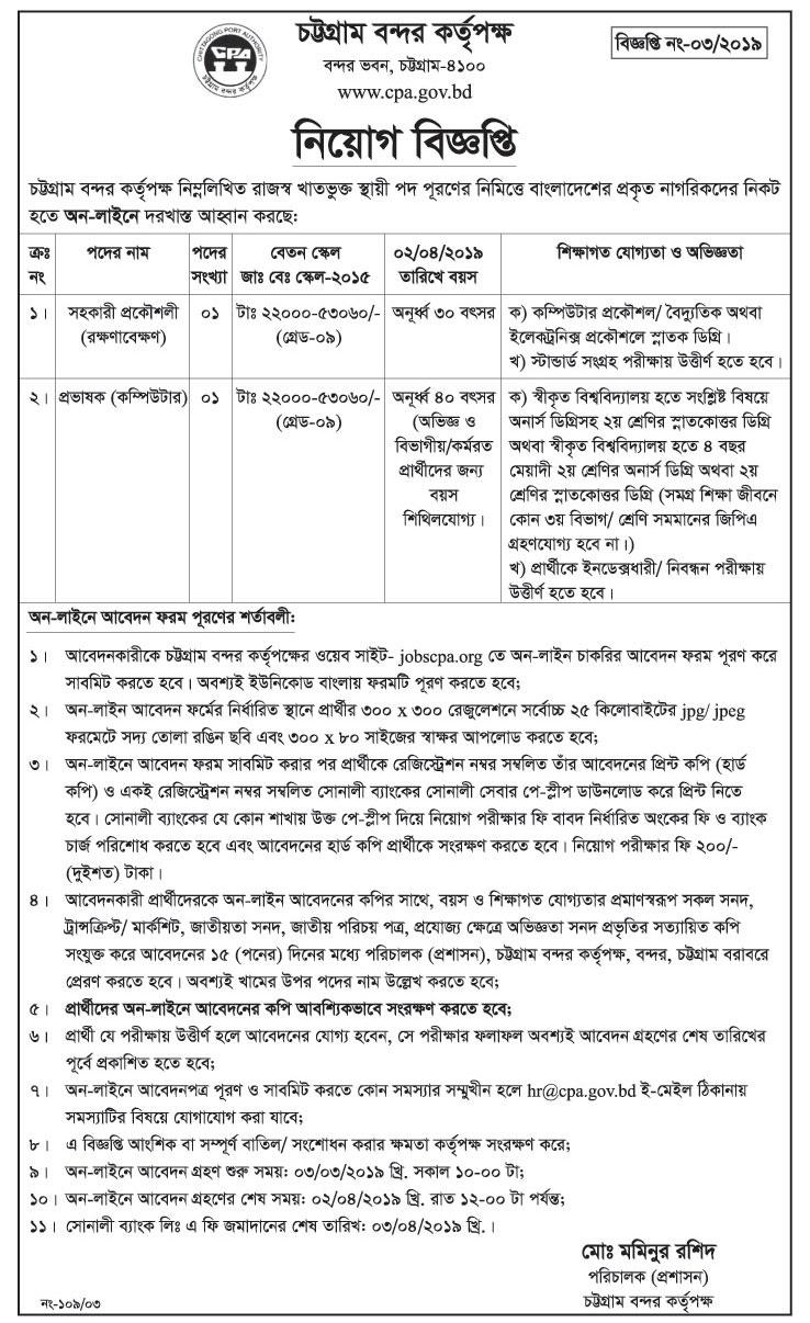 Chattogram Port Authority Job Circular 2019