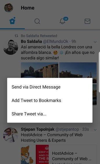 Twitter anuncia Bookmarks y botón Share, para guardar y compartir tweets