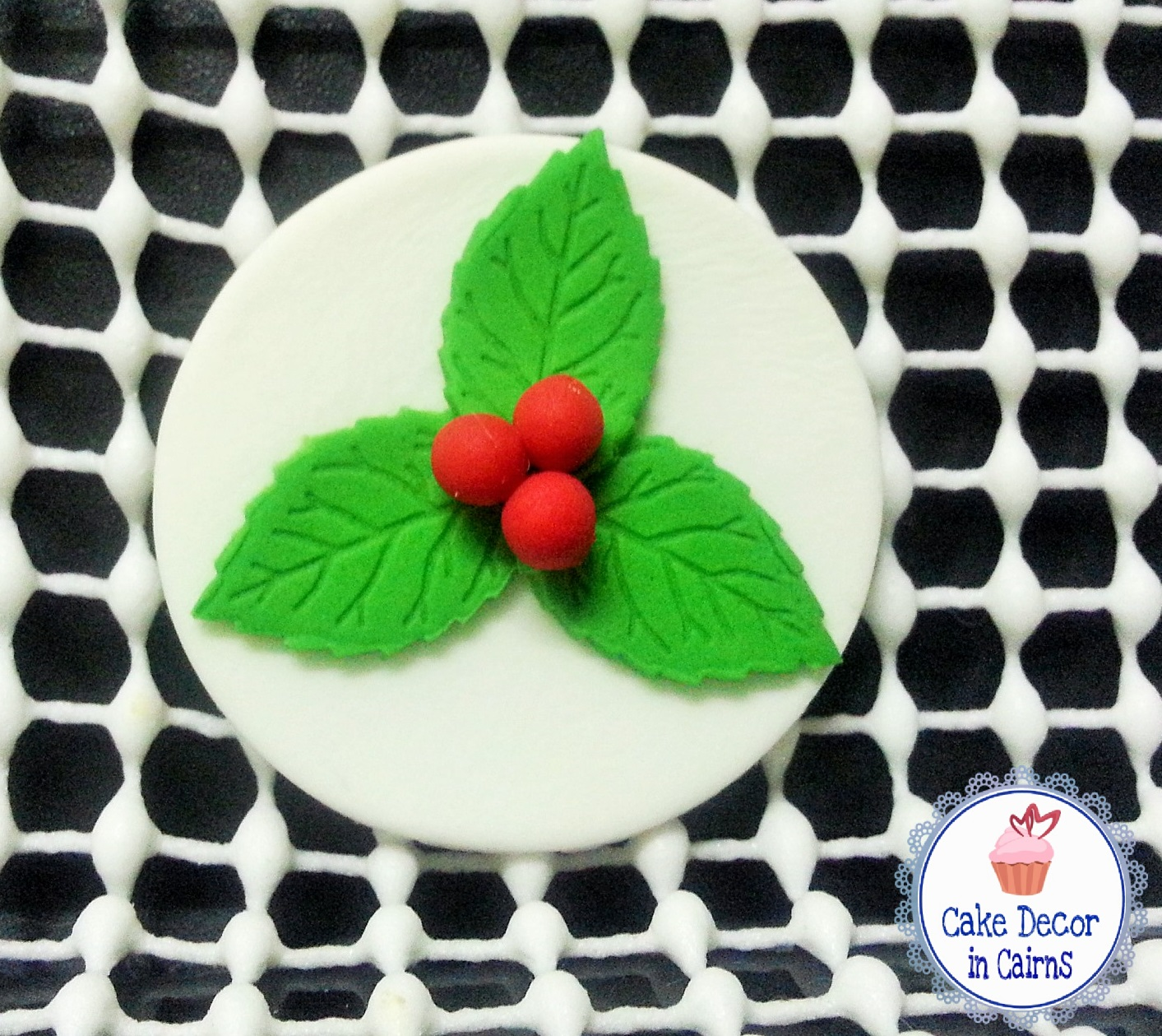 Fondant Holly Topper with rose leaf cutters