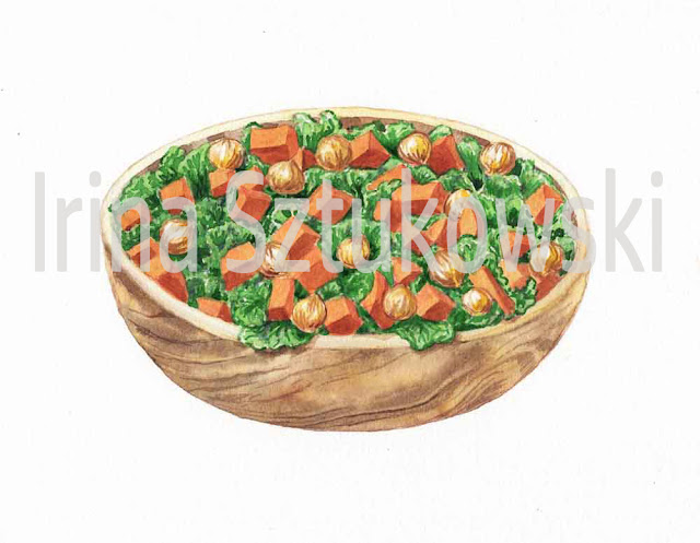 painting of Kale salad with veggies in watercolor realism
