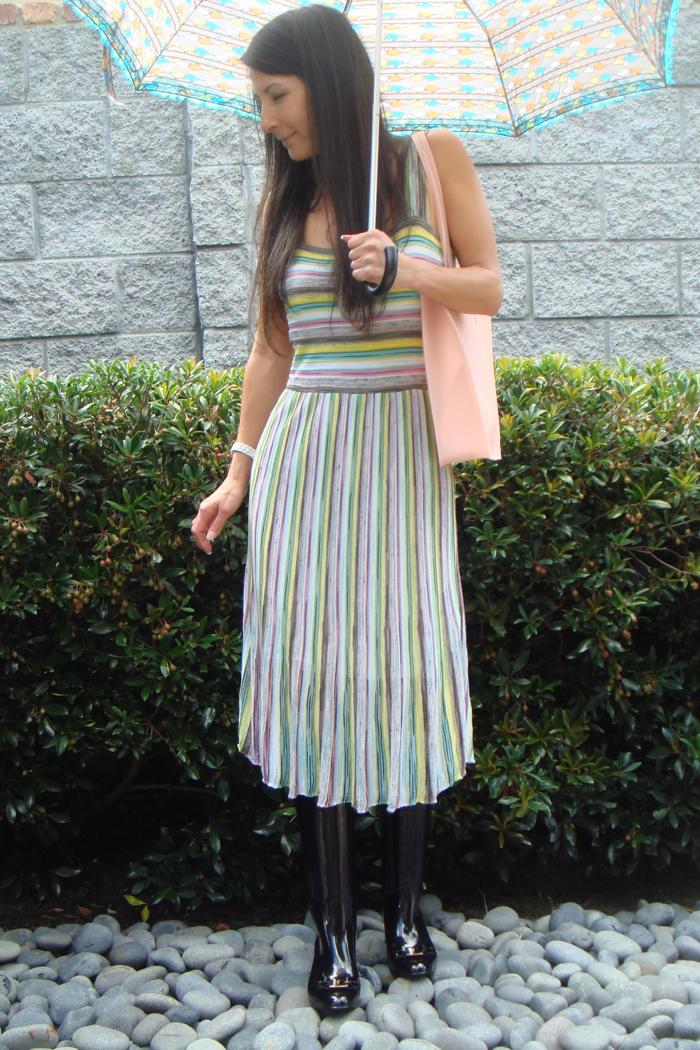 Wearing striped sleeveless dress, black rain boots, holding blue print umbrella and pink bag.