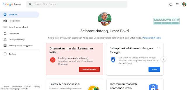 Akun google telah berganti bahasa indonesia