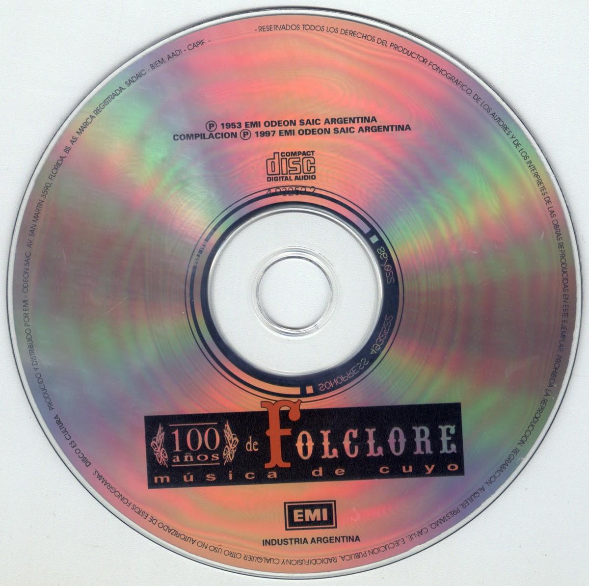100 años de folklore musica de cuyo imagen de disco