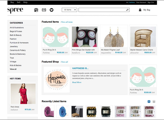 Spree - a South African online creative marketplace for independent sellers.