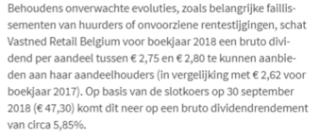 Aandeel vastned retail belgie dividend 2019