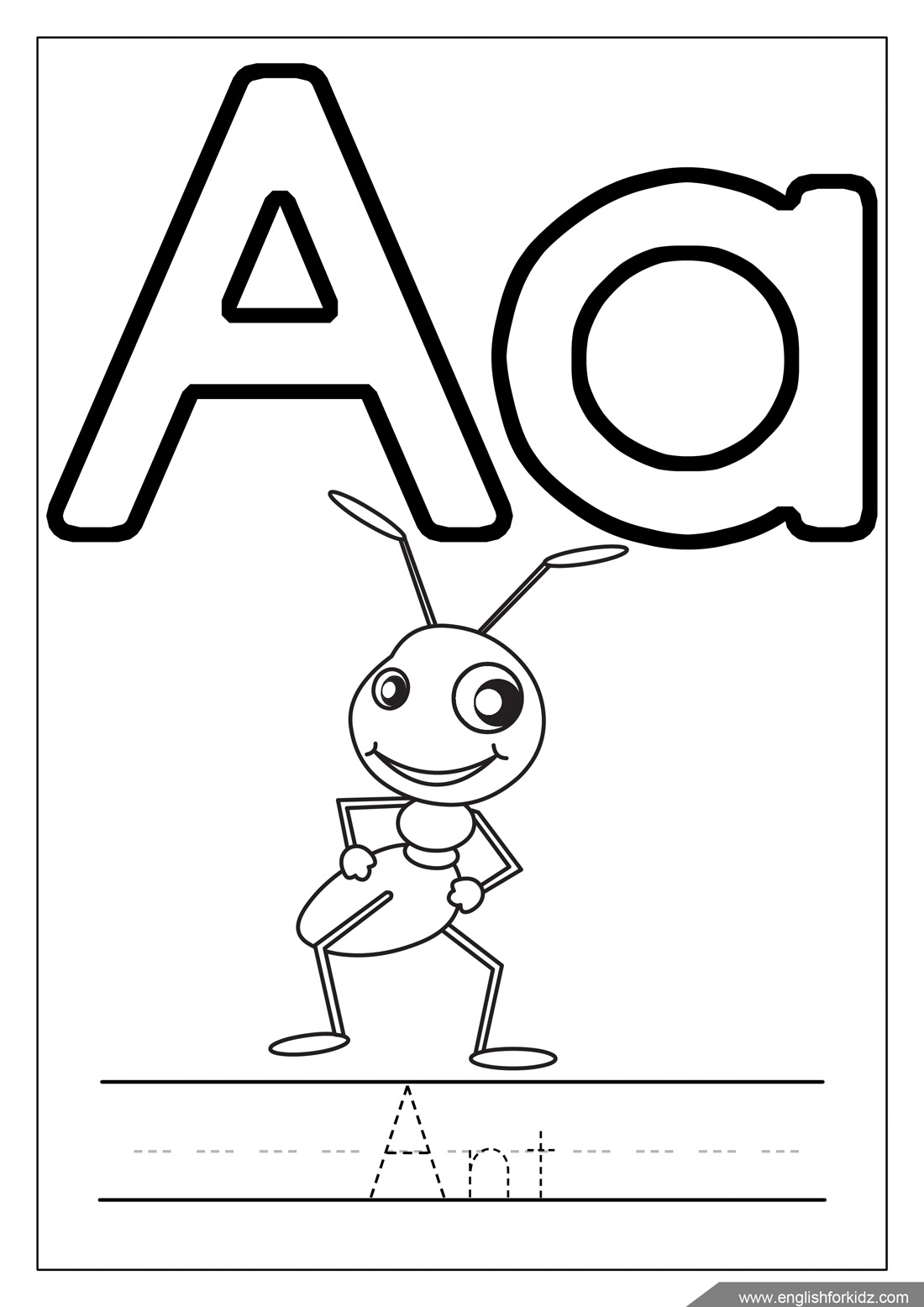 Letter A Worksheets Flash Cards