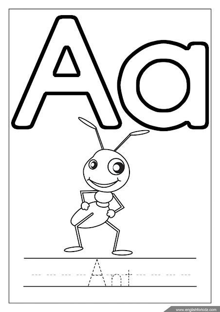 Alphabet coloring page, missive of the alphabet a coloring, a is for ant