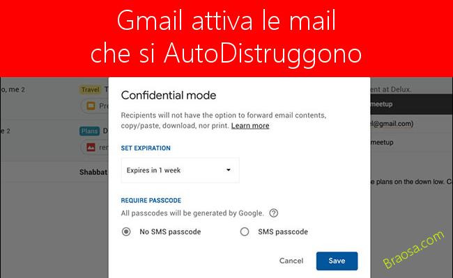 Gmail offrirà le email che si auto distruggono dopo essere ste ricevute dal destinatario