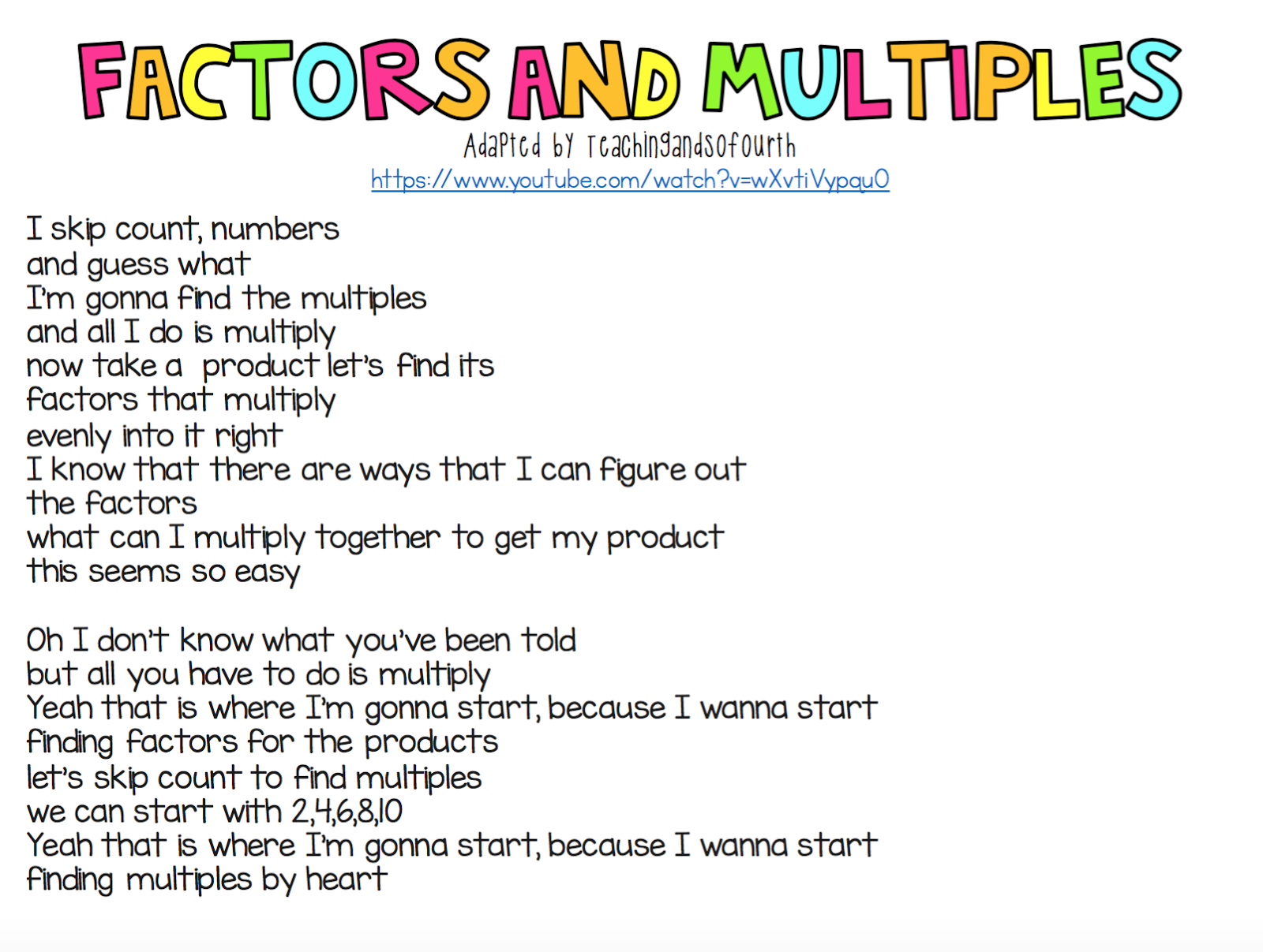 Teaching And So Fourth Factors And Multiples