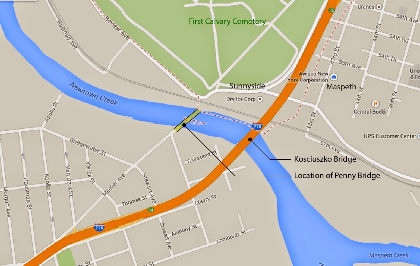 Area map showing location of Penny Bridge