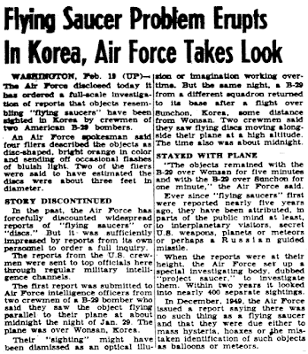 Flying Saucer Problem Erupts in Korea - Air Force Takes a Look - Pensacola News Journal 2-20-1952