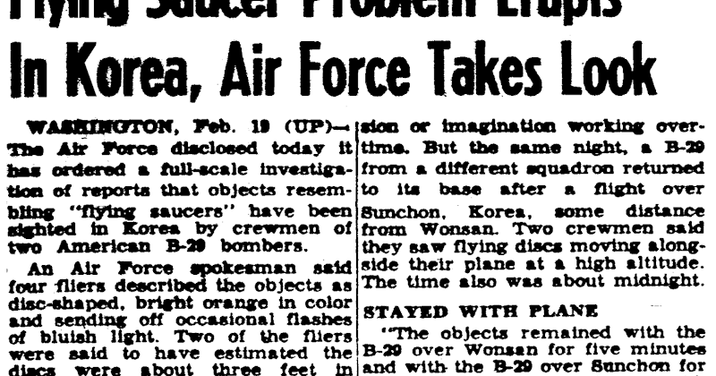 Flying Saucer Problem Erupts in Korea - Air Force Takes a Look   UFO CHRONICLE – 1952