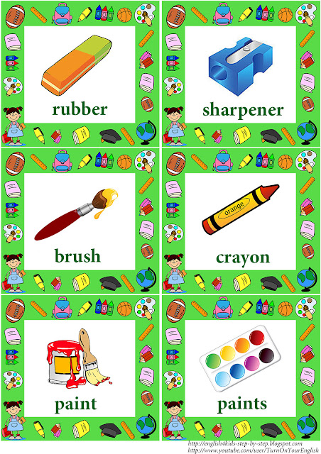 english language school vocabulary flashcards with words