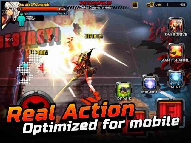 "Description: Smashing The Battle APK 1.02 Free Download  Masterpiece of Action game! Enjoy the classic arcade action on your mobile device!  Hack-and-slash action with 2 gorgeous heroines, tight and classy gameplay — feels like your cup of tea? Then SMASHING THE BATTLE is for you!  In the year 2085, a large multiplex construction web site becomes a victim of a colossal scale hacking incident. Due to the hack, the development robots starts to attack the employees on web site. What might have presumably happened?  Now you'll witness it yourself, with 2 distinctive characters to manage and 2 stories to unfold!  * options * - 2 Storylines : the 2 heroines tell totally different narratives, thus take care to follow their destiny to the top. - 2 Distinct Playstyle : every heroine options a singular gameplay, therefore the stories can unfold with refreshing, latest challenges. - eighty challenge modes to check your recreation skills - Virtual controls optimized for mobile devices - gorgeous costumes to customise your characters - Upgrade system that produces your characters stronger - Secret documents that contain mysterious backstories - Fan-art from numerous gifted artists : fancy unlocking them by enjoying nonobligatory challenges!  SCREENSHOT'S      Reviews: "" Need CLOUDSAVE! lovely & nice game, running swish, and no IAPs... however would like TRANSFER information or CLOUDSAVE feature.. after you change/reset urban center phone, then should begin everywhere once more, it's reasonably waste... :( and the way to urge ""purchase things from the shop"" accomplishment if there isn't any search menu...? conjointly what is the purpose obtaining the key if there isn't any things which will be bought by that key (not like laptop version)... ""    WHAT'S NEW  Support Landscape Left / Right   DOWNLOAD Get it from Google Play"