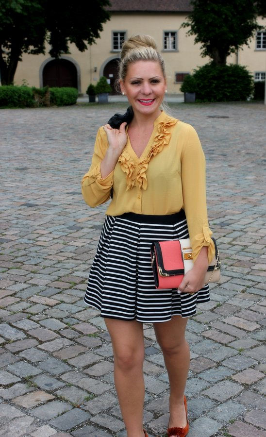 f644bdcf11 striped pleated skater skirt with a pop of yellow and orange