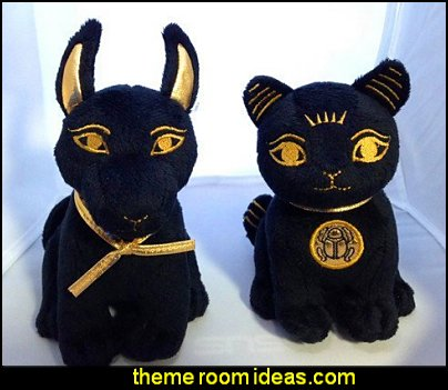 Egyptian Plush Black and Gold Bastet Cat & Anubis Stuffed Animal  Egyptian theme bedroom decorating ideas - Egyptian decor - Egyptian furniture - Egyptian Themed Home Decor - pyramid wall murals - Egyptian wall decals - Egyptian themed bedding - Egyptian throw pillows -  egyptian themed bedding set - ancient egyptian themed bedding - Egyptian Home decor ideas - Egyptian costumes - Egyptian themed lighting -  Egyptian Queen costume -  Egyptian Pharaoh Costume - Hieroglyphic posters - Egyptian themed rooms