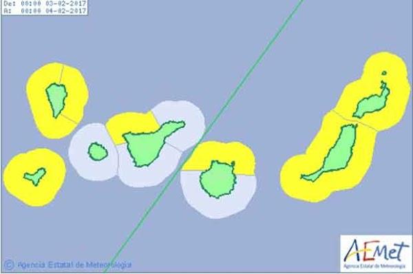 Aviso amarillo oleaje Canarias, viernes 3 febrero