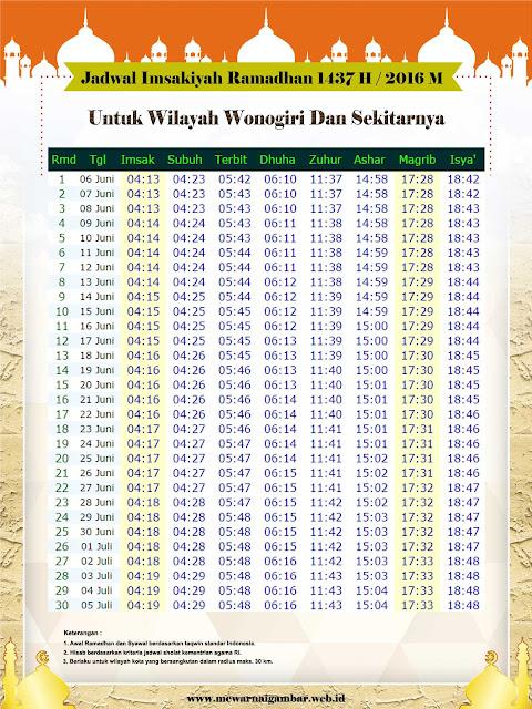 Jadwal Imsakiyah Wonogiri Tahun 1437 H / 2016 M