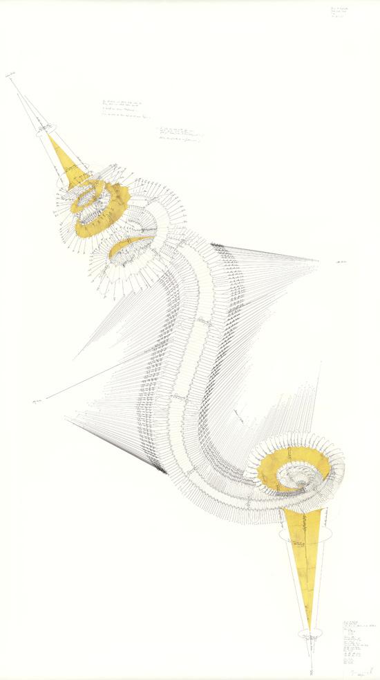 """drawing Jorinde Voigt Douglas R. Hofstadter, Gödel, Escher, Bach, """"Die Air in G"""",  Achilles und die Schildkröte, 2013"""