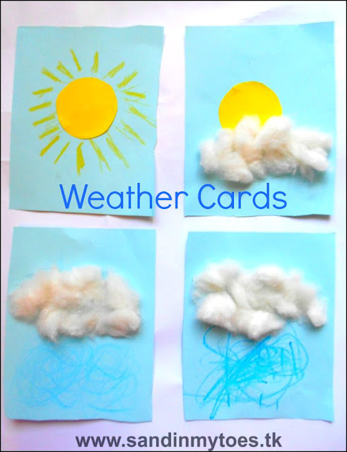 Simple weather cards that can be made by toddlers and preschoolers.