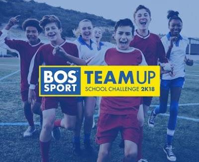 Children running with Bos Sport branded Team Up school Challenge 2K18 logo