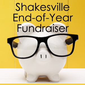 image of a white piggy bank wearing black glasses accompanied by text reading: 'Shakesville End-of-Year Fundraiser'