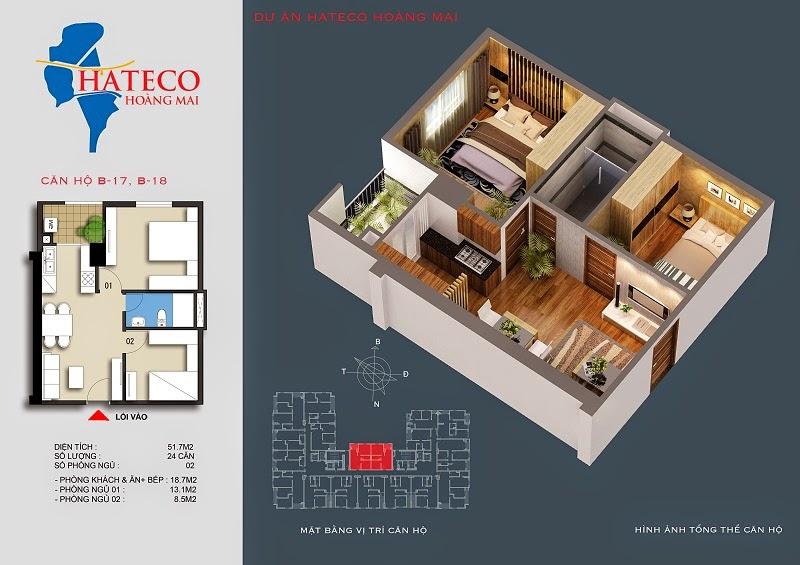 mặt bằng chung cư Hateco Hoàng Mai căn hộ B1318