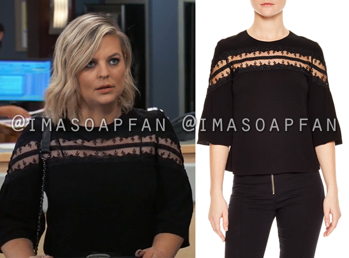 Maxie Jones, Kirsten Storms, Black Embroidered Lace Inset Blouse, General Hospital, GH