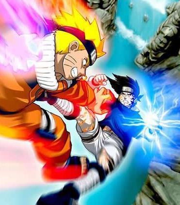 Dibujo de Naruto en plena pelea