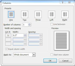 Column dialog box