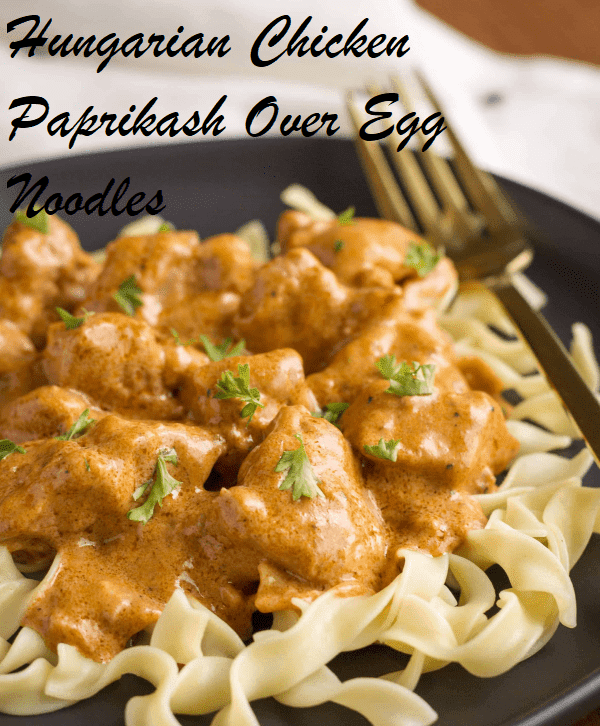 Hungarian Chicken Paprikash Over Egg Noodles